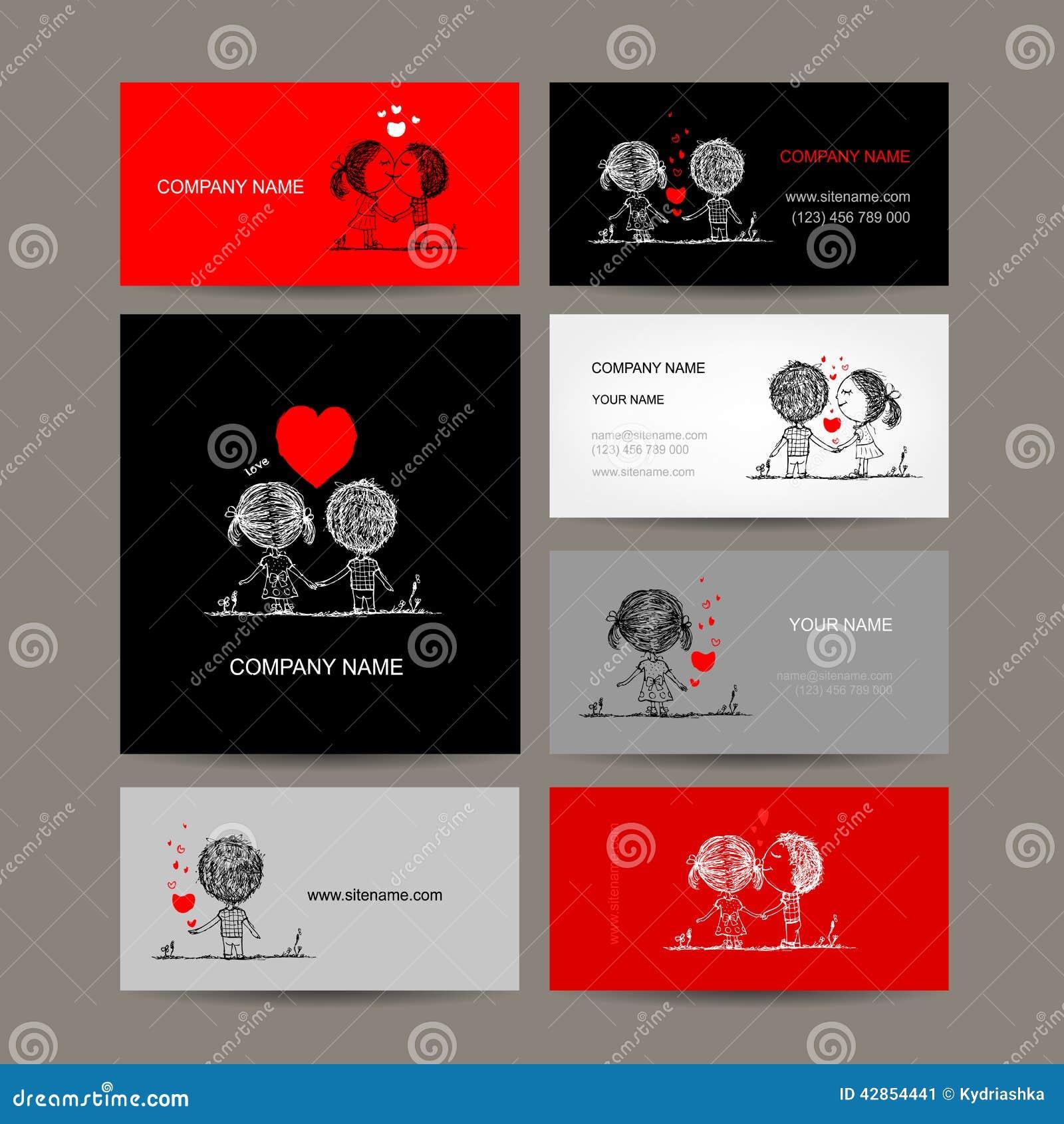 Ensemble De Cartes Visite Professionnelle Couples Dans L Amour