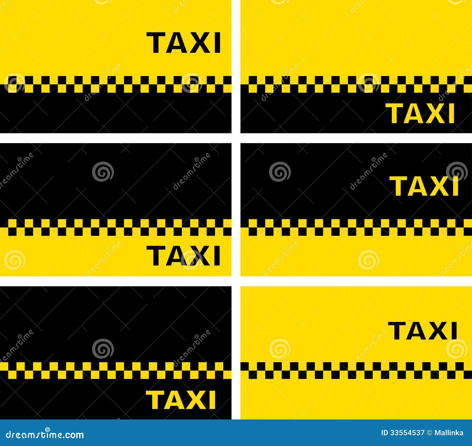Ensemble De Cartes Visite Professionnelle Taxi Illustration Vecteur