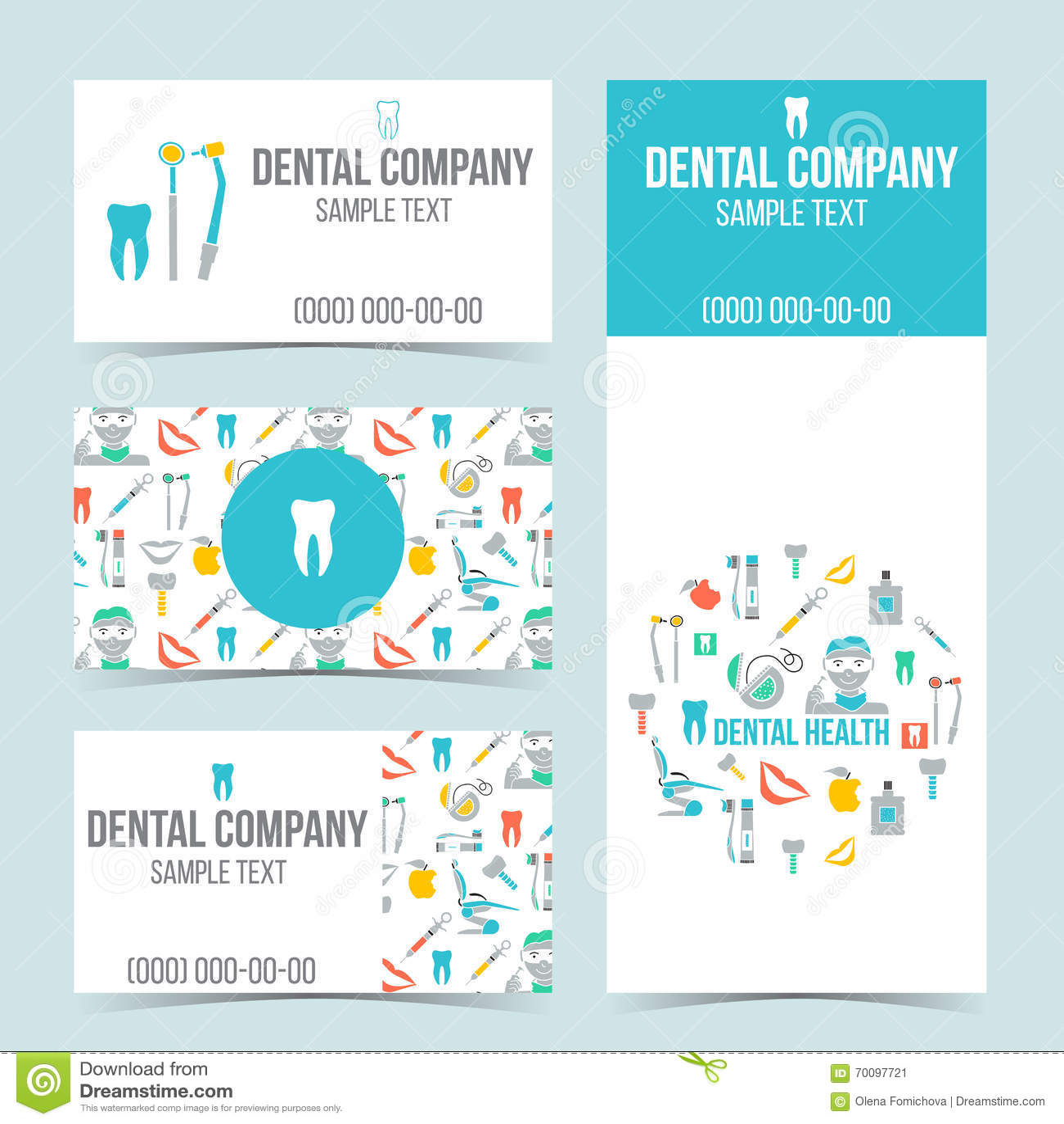 Et De Cartes Visite Professionnelle Pour La Clinique Dentaire Ensemble Produits Promotionnels Conception Plate Illustration Vecteur