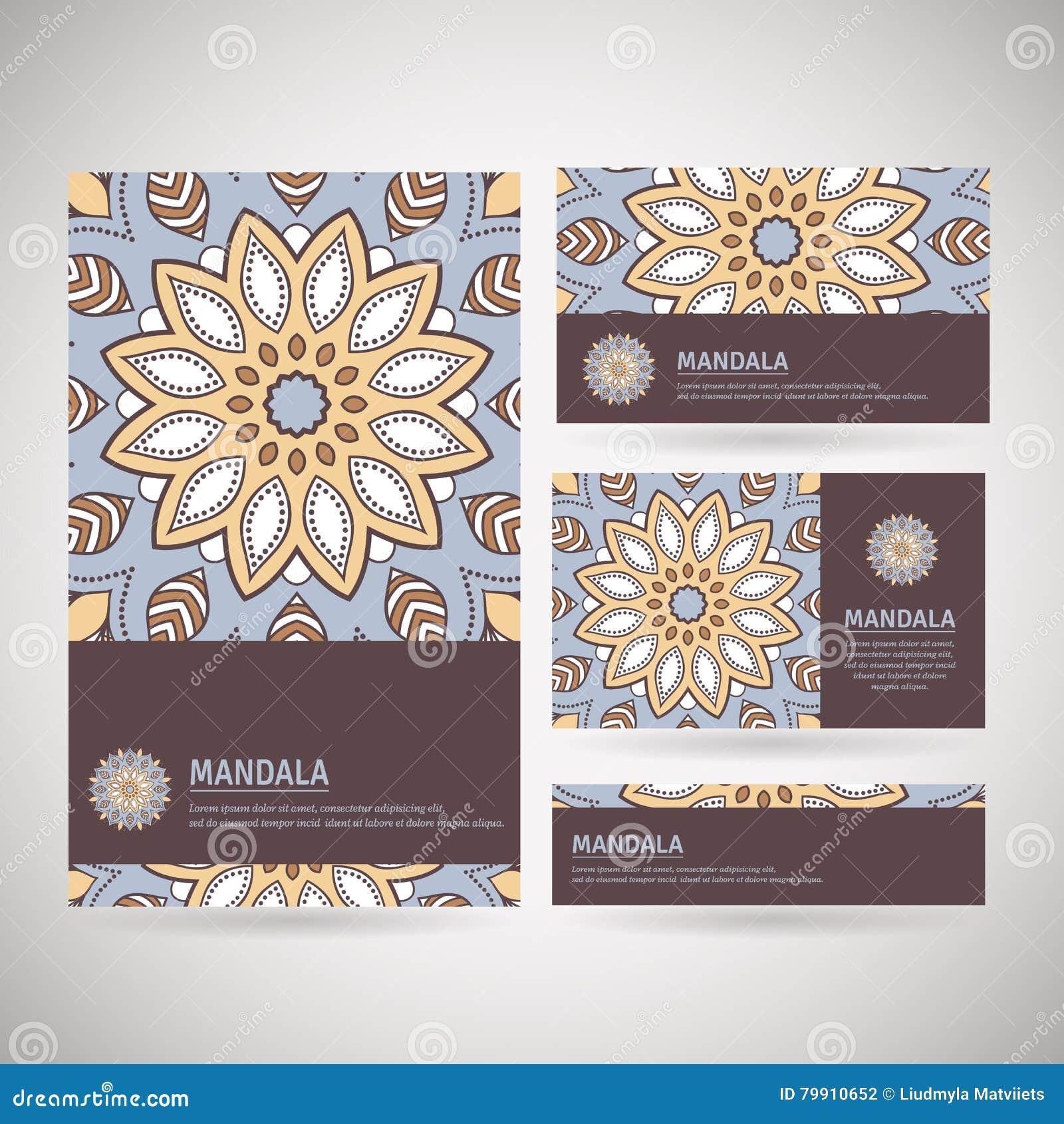 Download Ensemble De Cartes Visite Professionnelle Ornementales Avec Le Mandala Fleur Illustration