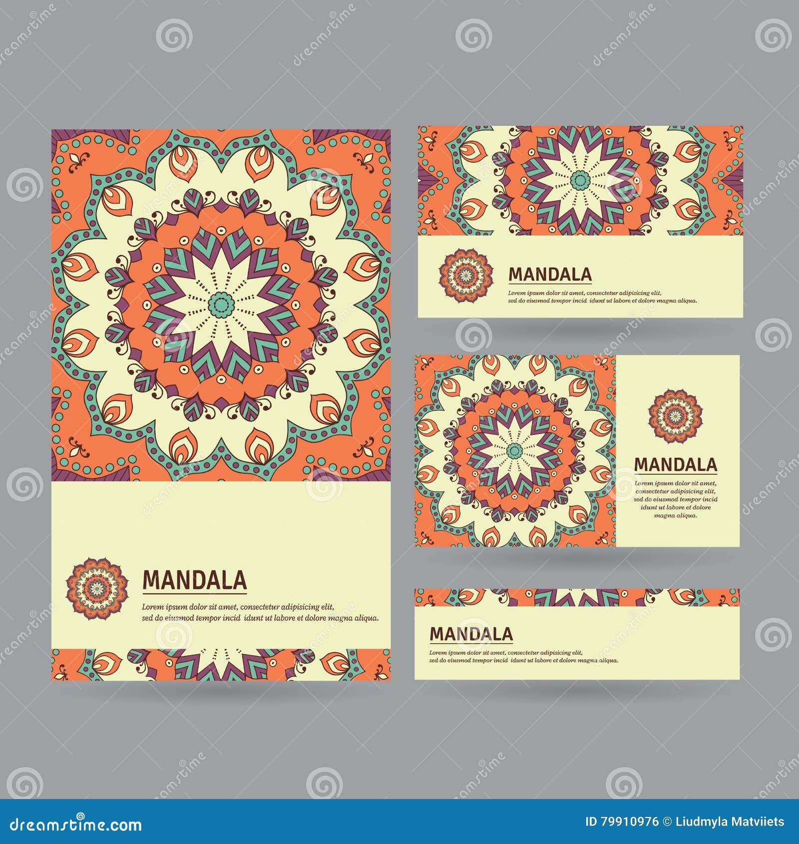 Ensemble De Cartes Visite Professionnelle Ornementales Avec Le Mandala Fleur Dans L
