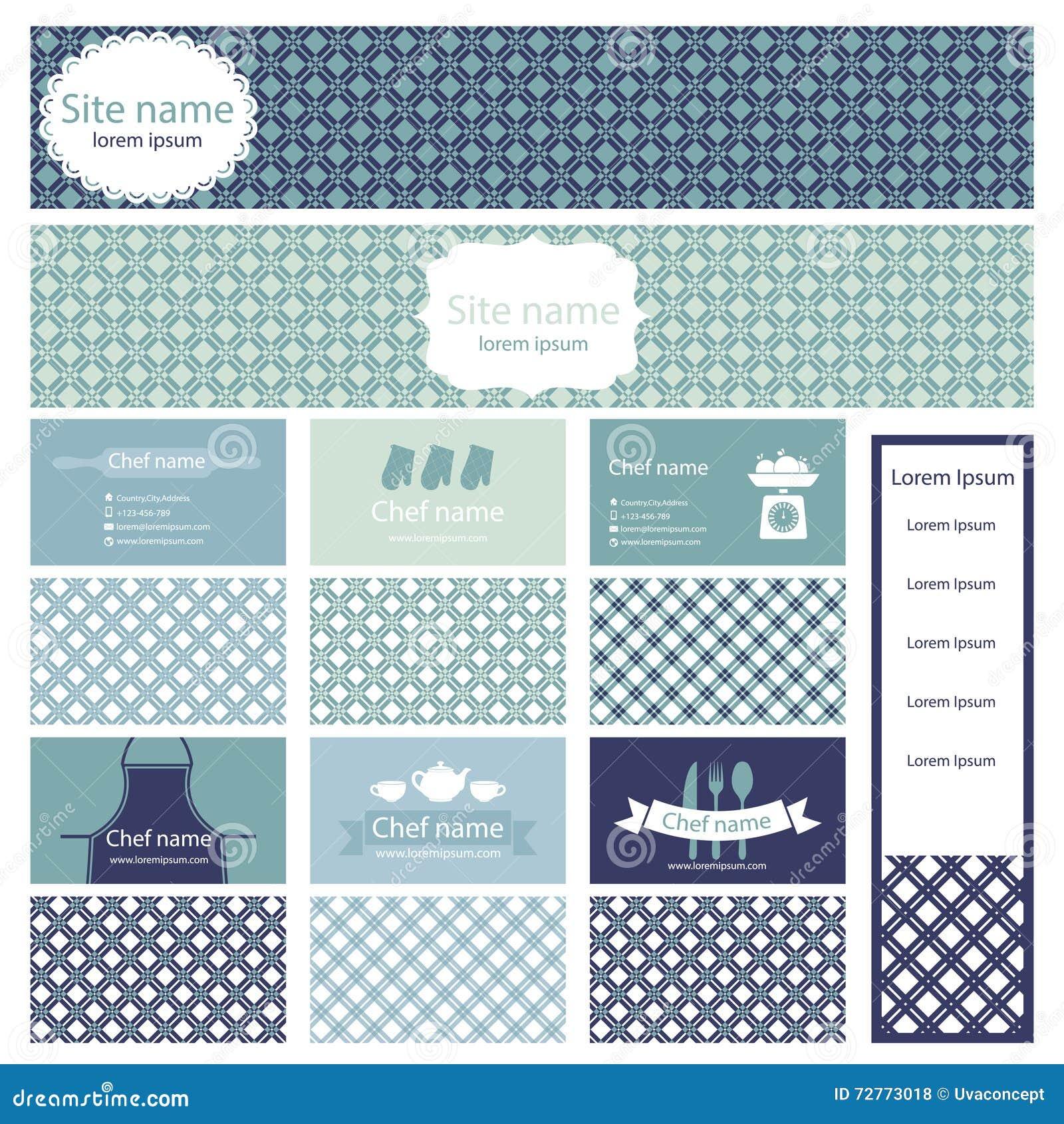 Ensemble De Cartes Visite Professionnelle Et Site Web Den Tte Pour Faire Cuire Le Thme Illustration Vecteur