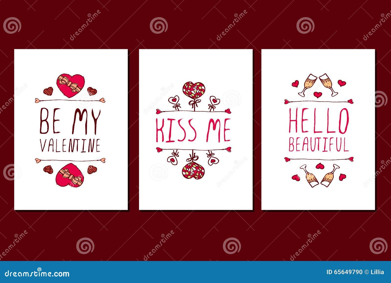 Ensemble de cartes de voeux tirées par la main de jour de valentines de saint