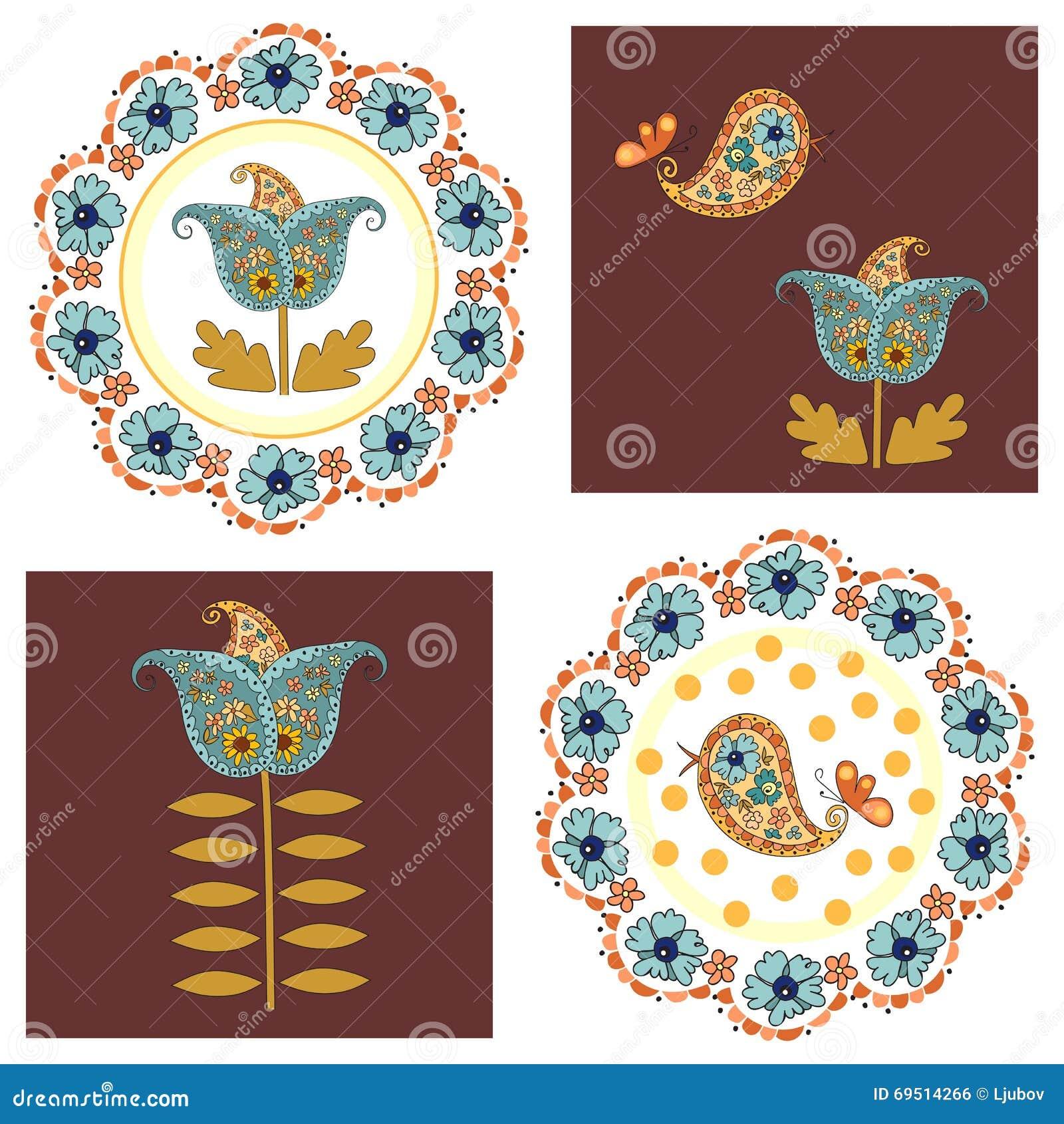 Ensemble de cartes mignonnes avec des fleurs et des oiseaux