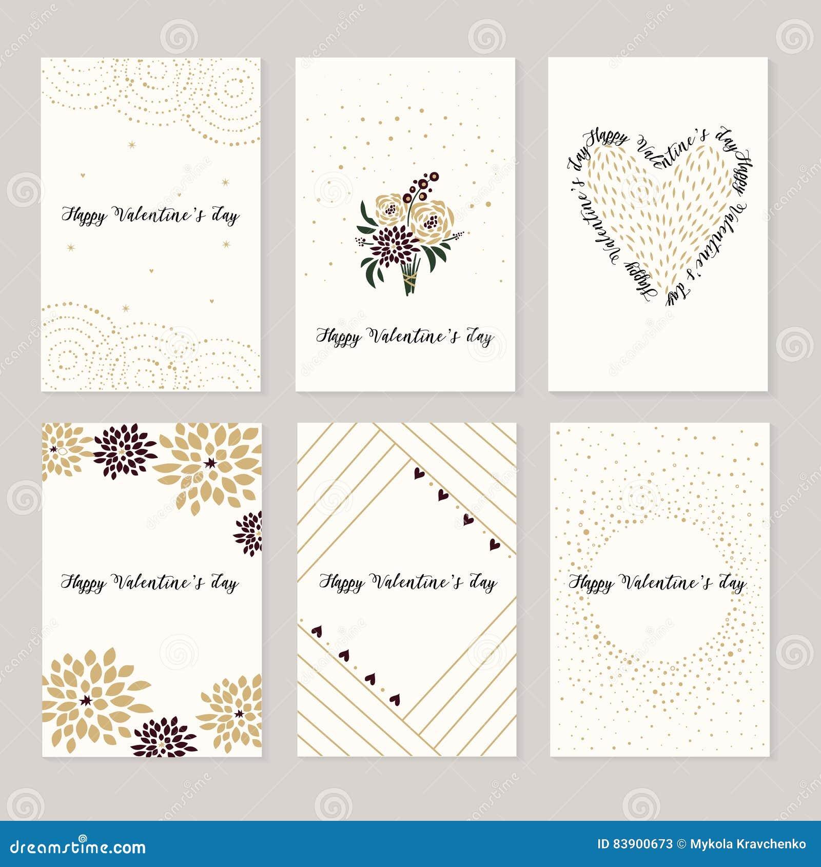 Ensemble De Cartes Pour Le Saint Valentin De St Coeurs Rouges Et