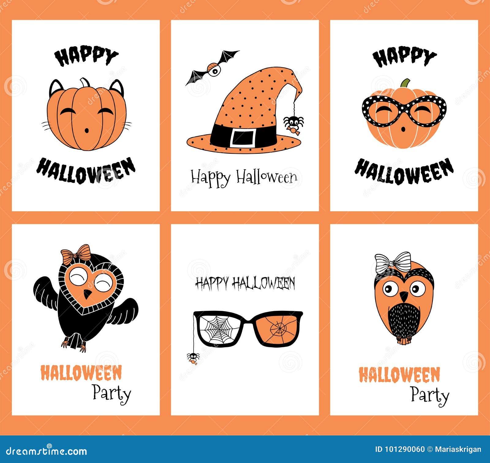 Ensemble de cartes de voeux de Halloween