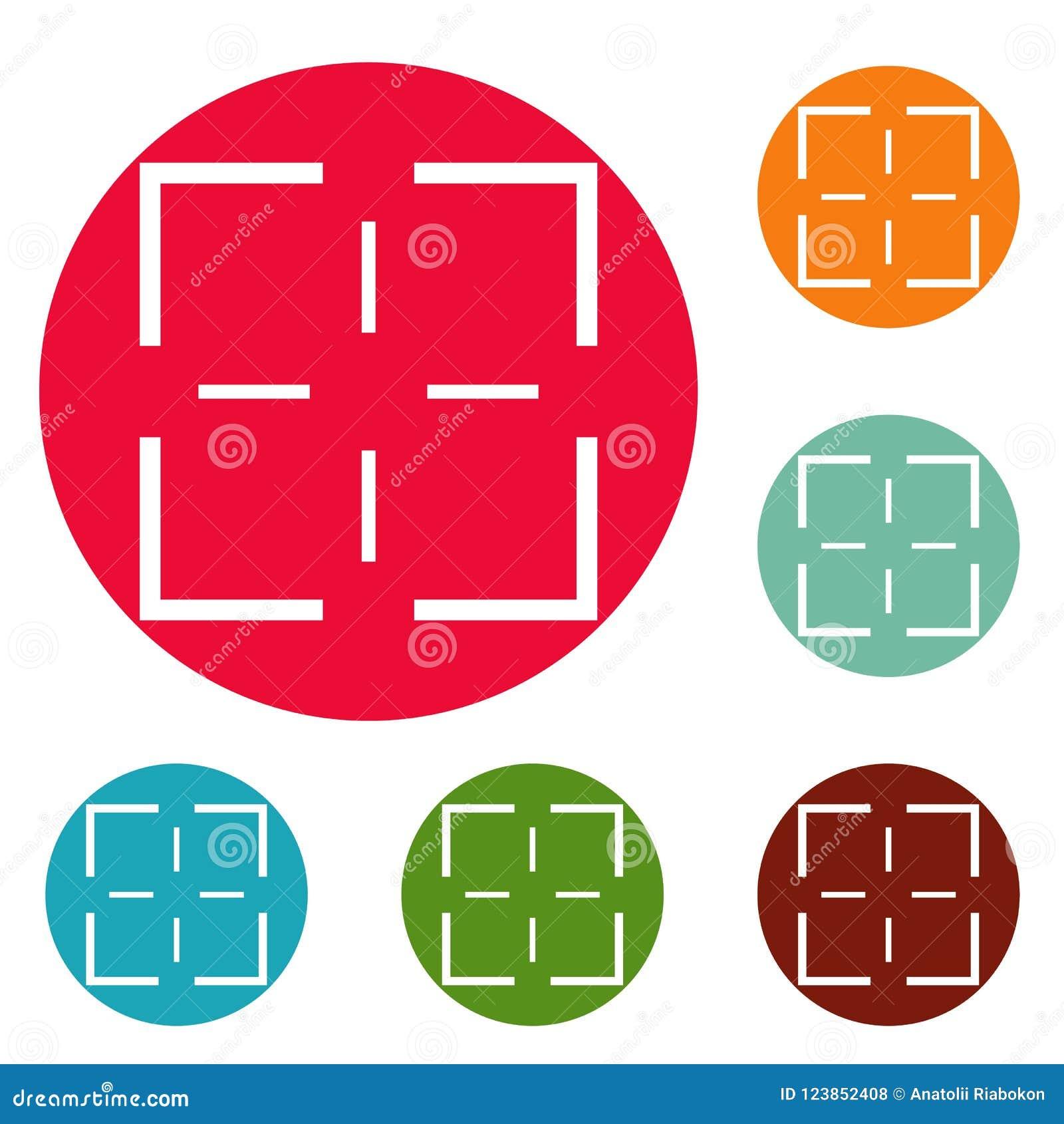 Ensemble de cercle d icônes de mission