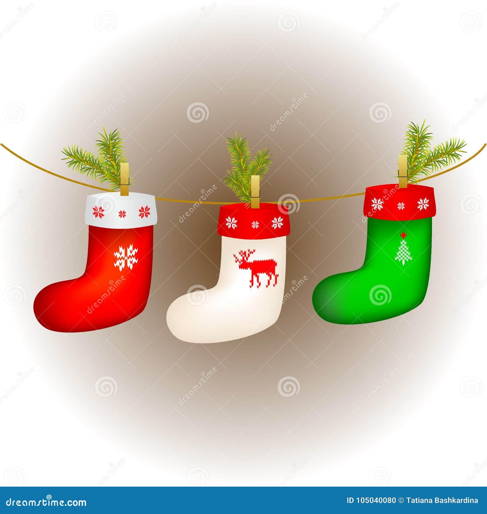 Ensemble de chaussettes multicolores de Noël pour des cadeaux Coup sur la corde