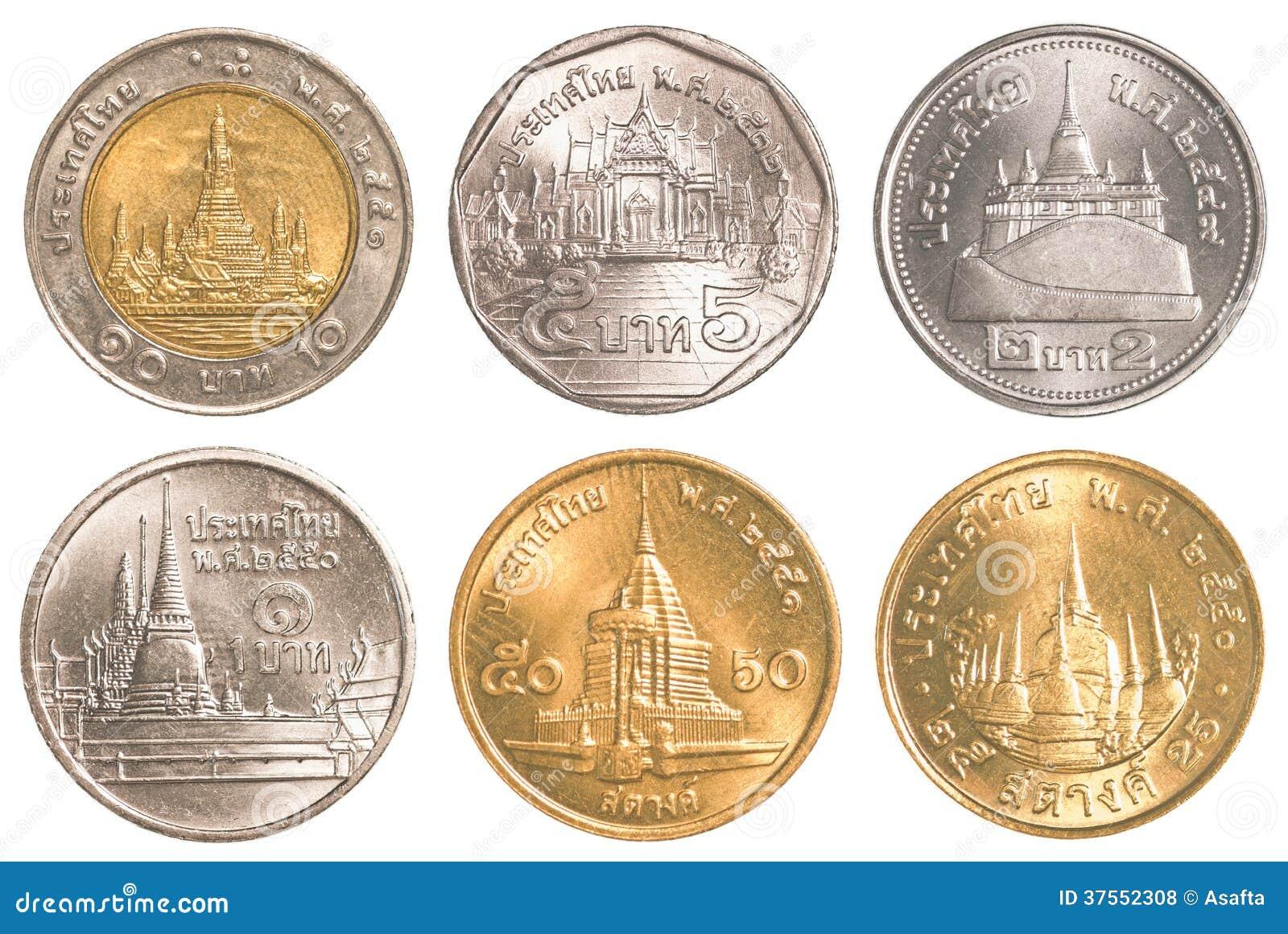 ensemble de circulation de collection de pi ces de monnaie de la tha lande photos libres de. Black Bedroom Furniture Sets. Home Design Ideas