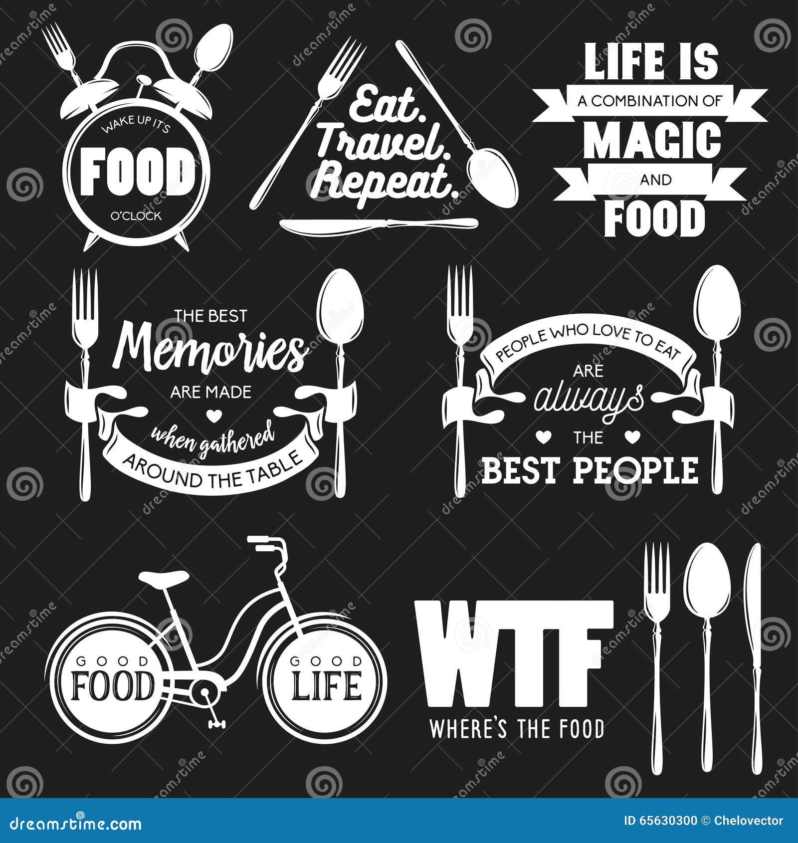 Ensemble de citations typographiques relatives de nourriture de vintage Illustration de vecteur
