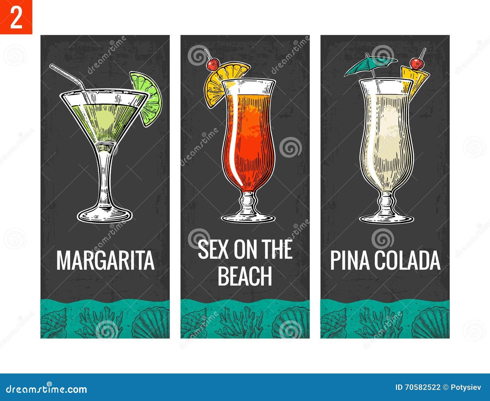 Ensemble de cocktail d alcool Margarita, sexe sur la plage, colada de pina Illustration de gravure de vecteur de vintage pour le