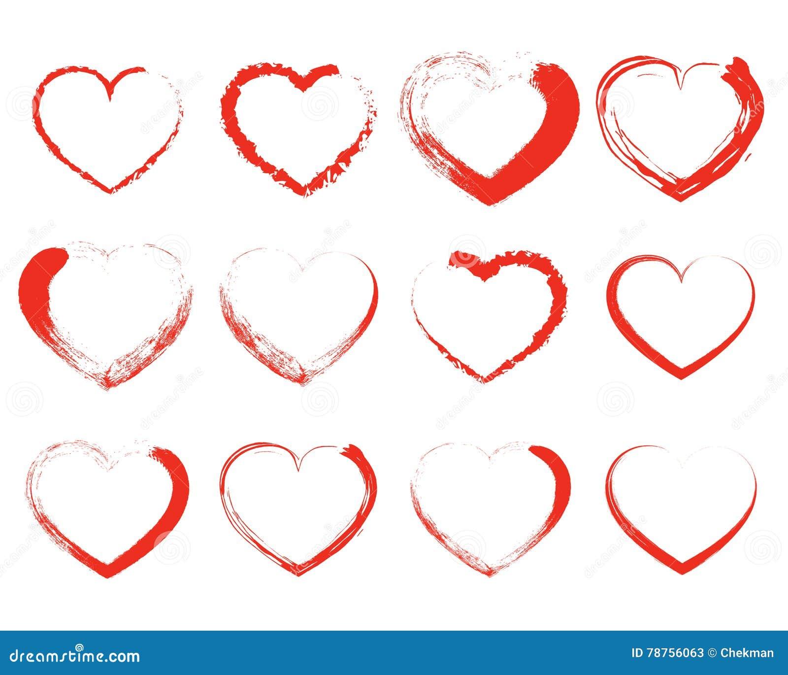Ensemble De Coeurs Rouges De Dessin Illustration De Vecteur
