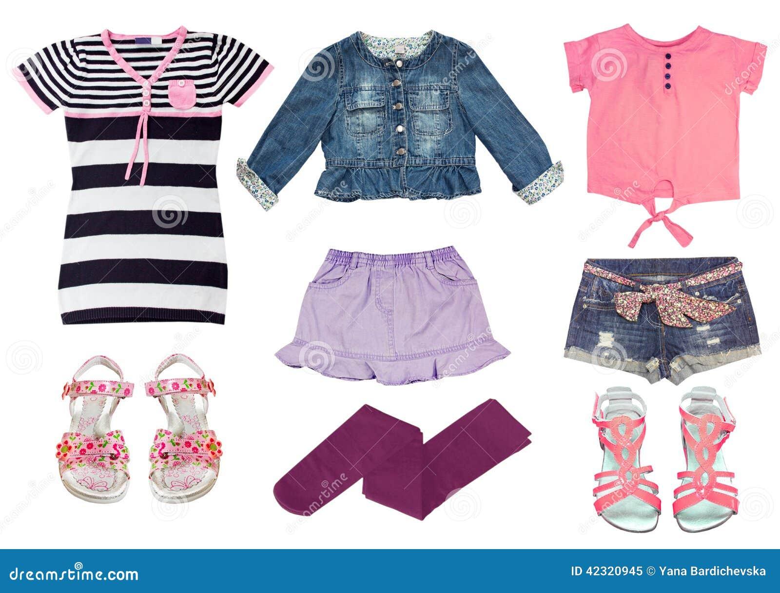 00ae9e5602539 Ensemble de Collag de vêtements femelles d enfant d isolement sur le blanc