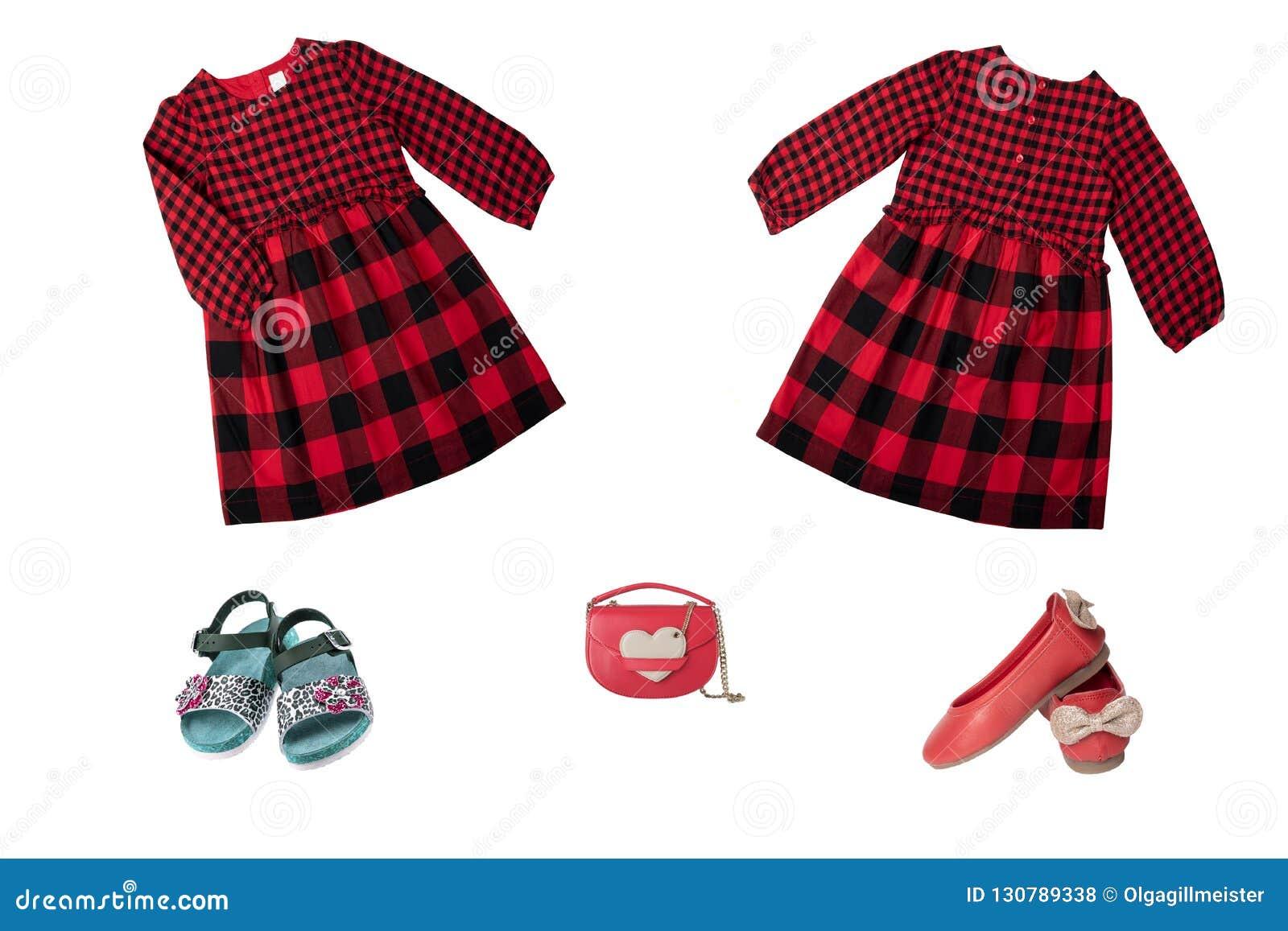 Ensemble de collage de vêtements d enfants Robe et chaussures à carreaux rouges f
