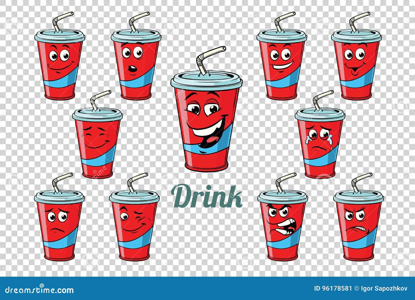 Ensemble de collection de caractères d émotions de tube de kola de boissons