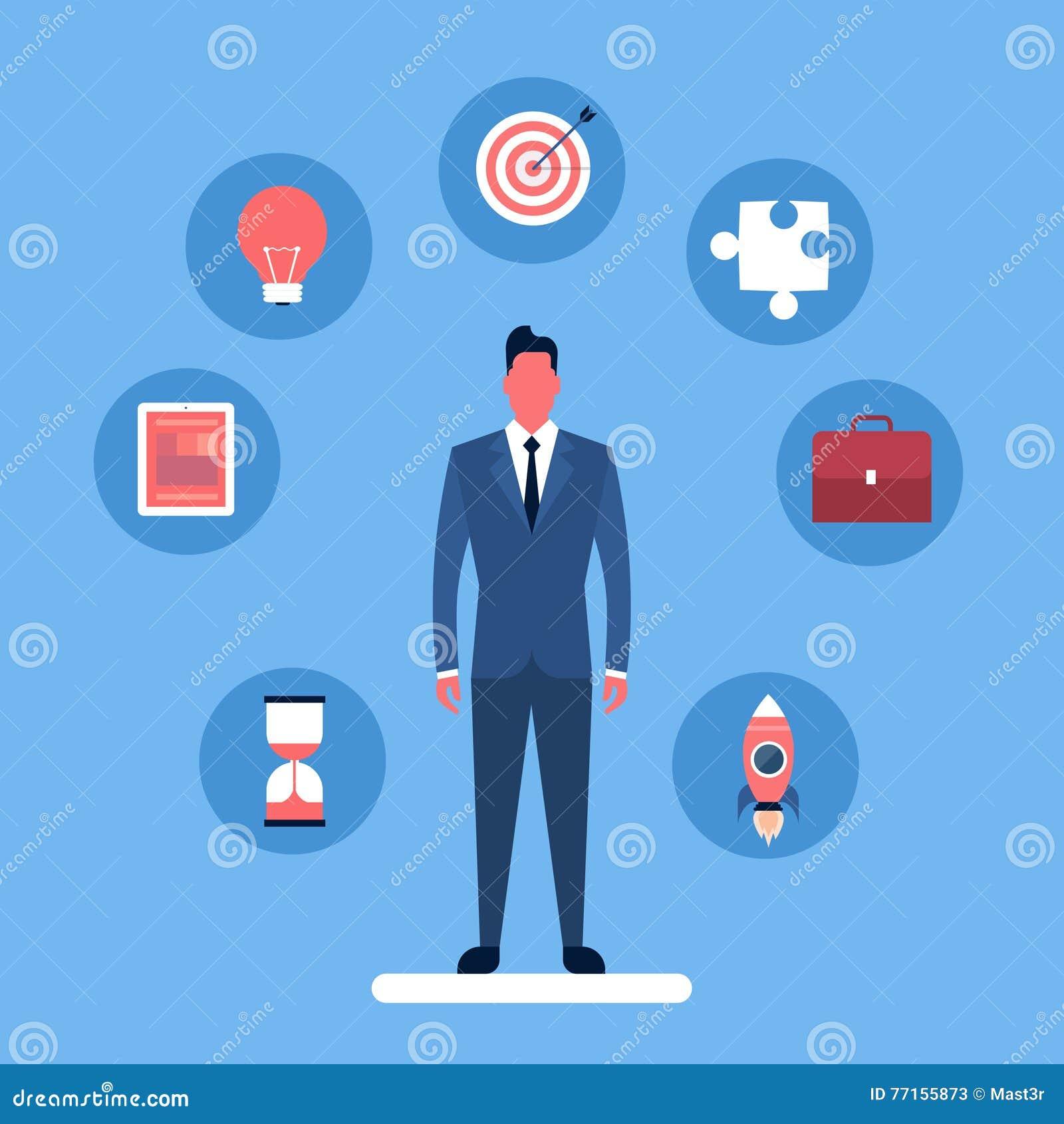 Ensemble de concept de stratégie de collection d icône d homme d affaires