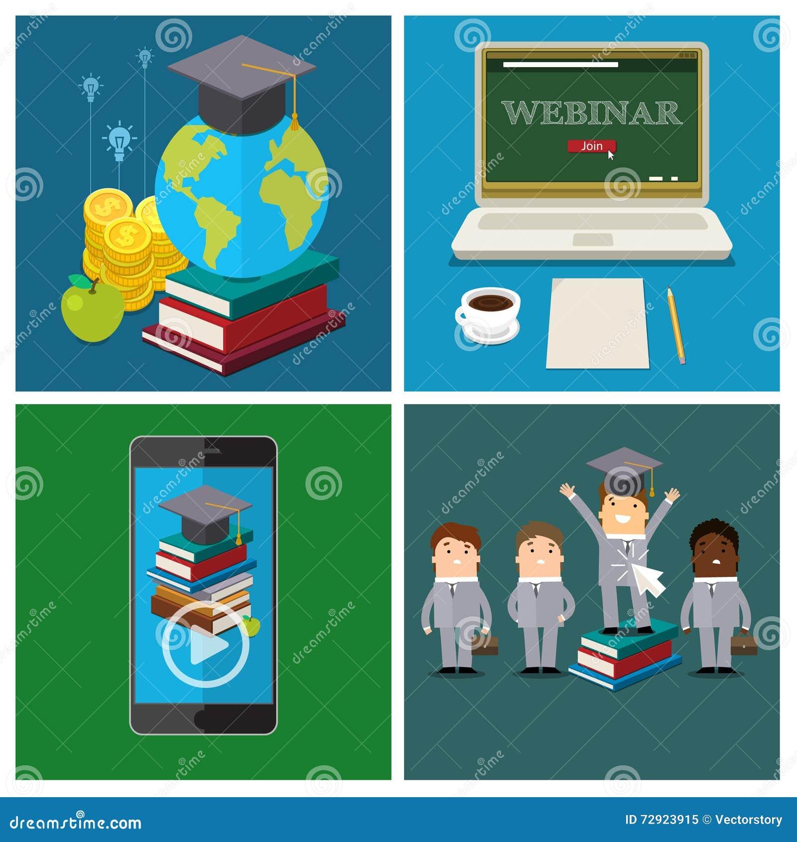 Ensemble de concept en ligne d éducation