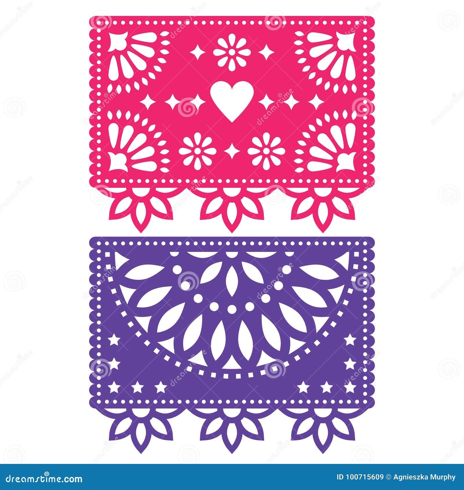 Ensemble de conception de calibre de Papel Picado, fleurs de papier mexicaines de décorations et formes géométriques, deux banniè