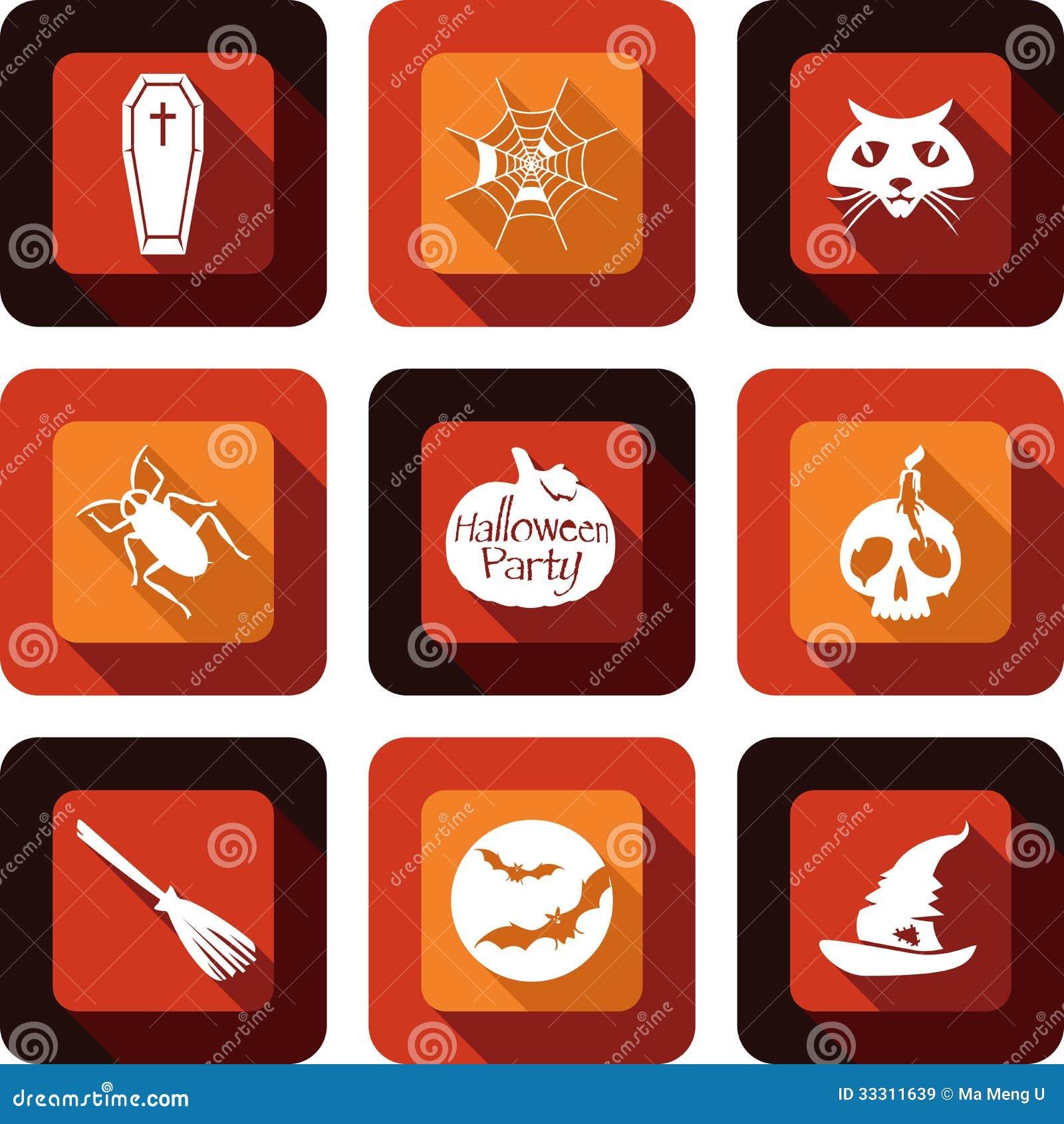 Ensemble de conception d icône de partie de Halloween
