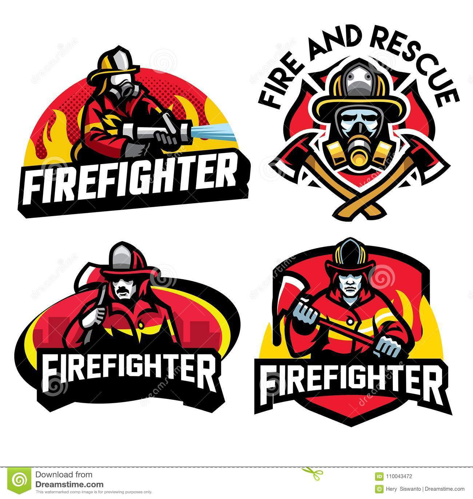 Ensemble de conception d insigne de sapeur-pompier