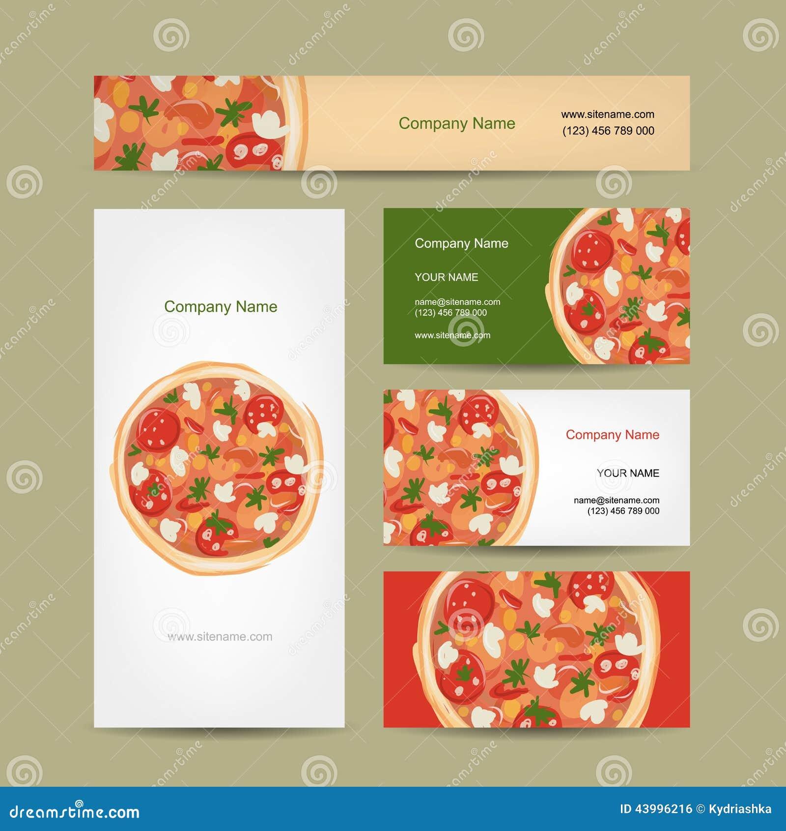 Download Ensemble De Conception Cartes Visite Professionnelle Avec La Pizza Illustration