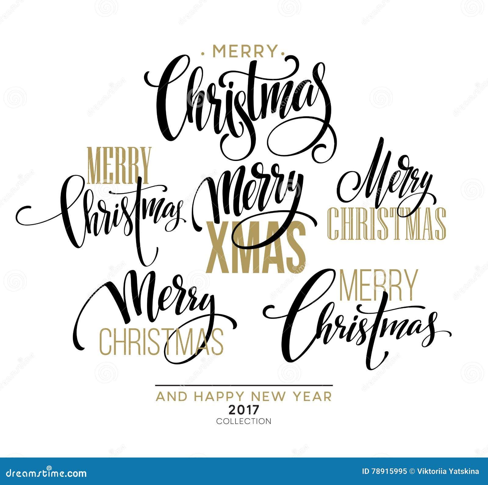 Ensemble de conception de lettrage de Joyeux Noël Illustration de vecteur