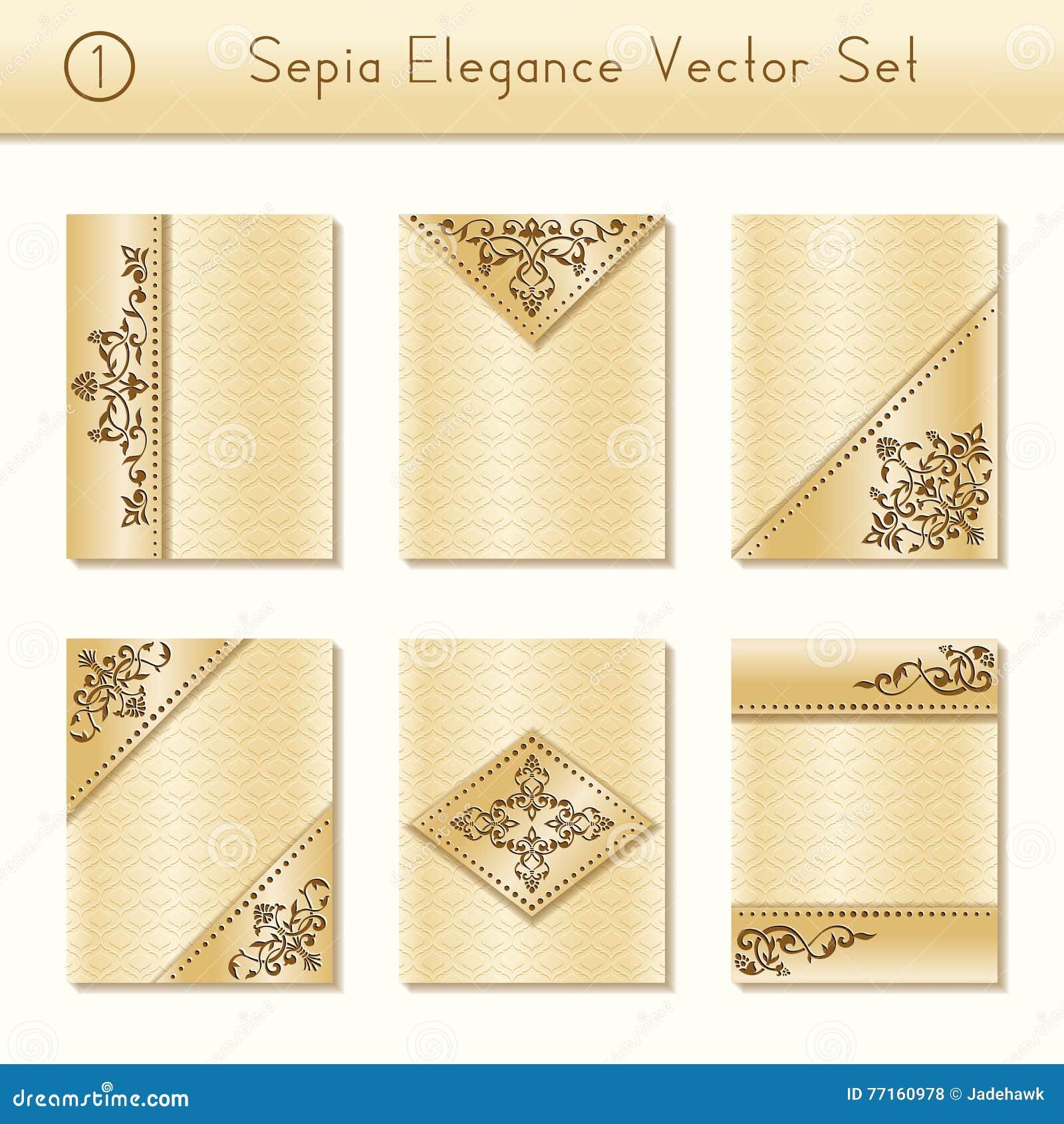 Ensemble de conceptions complexes de brochure de sépia