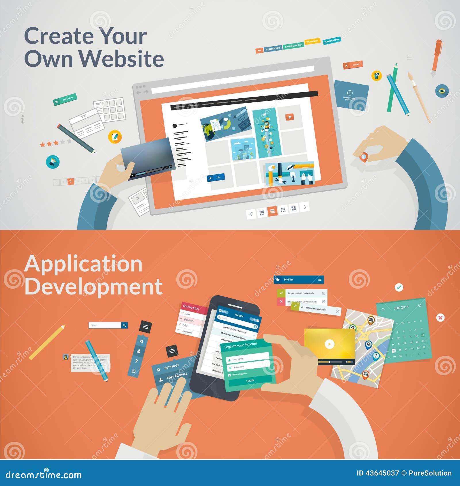 Ensemble de concepts de construction plats pour des sites Web et l appli