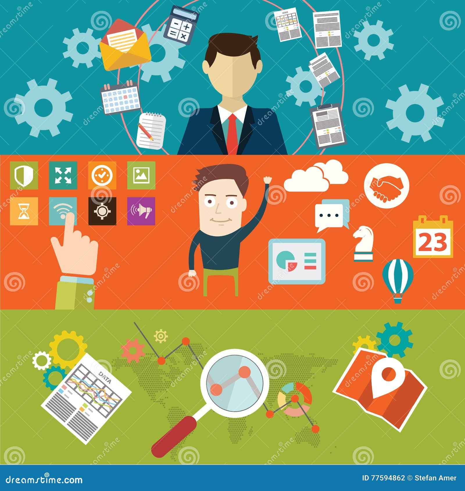 Ensemble de concepts plats d illustration de vecteur de conception pour la disposition de site Web, les services de téléphone por