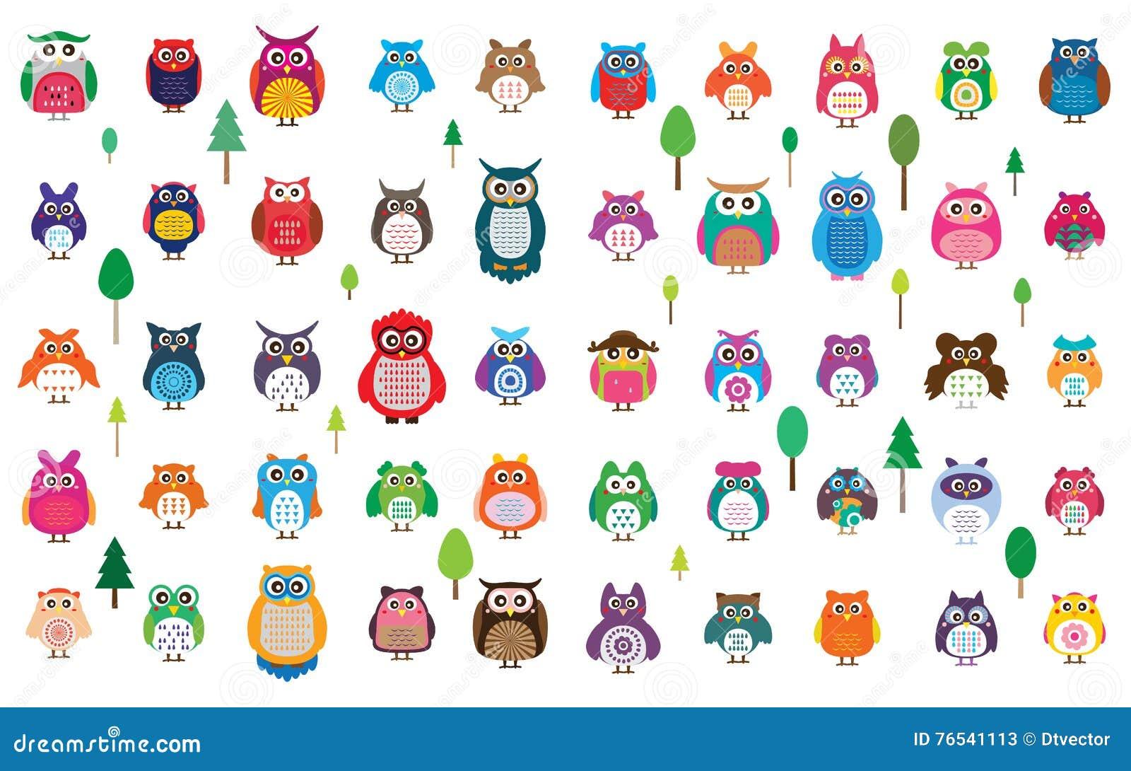 Ensemble De Couleur Du Hibou 50 Illustration De Vecteur