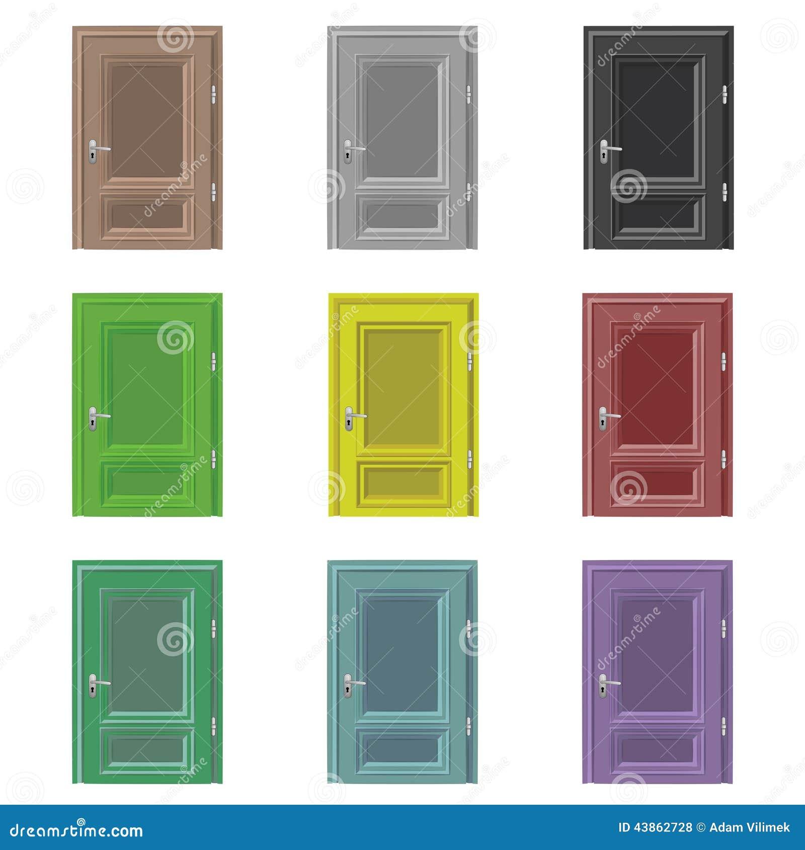 Ensemble de couleur ferm d 39 isolement de dessin de porte - Couleur de porte ...