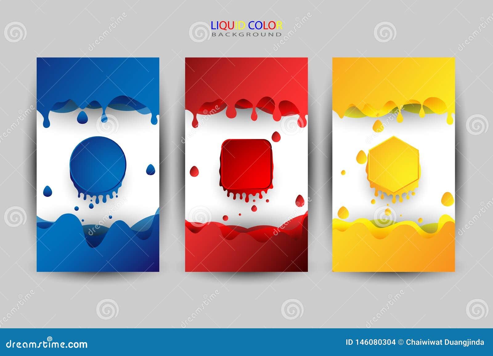 Ensemble de couleur liquide, diverses couleurs comme fond