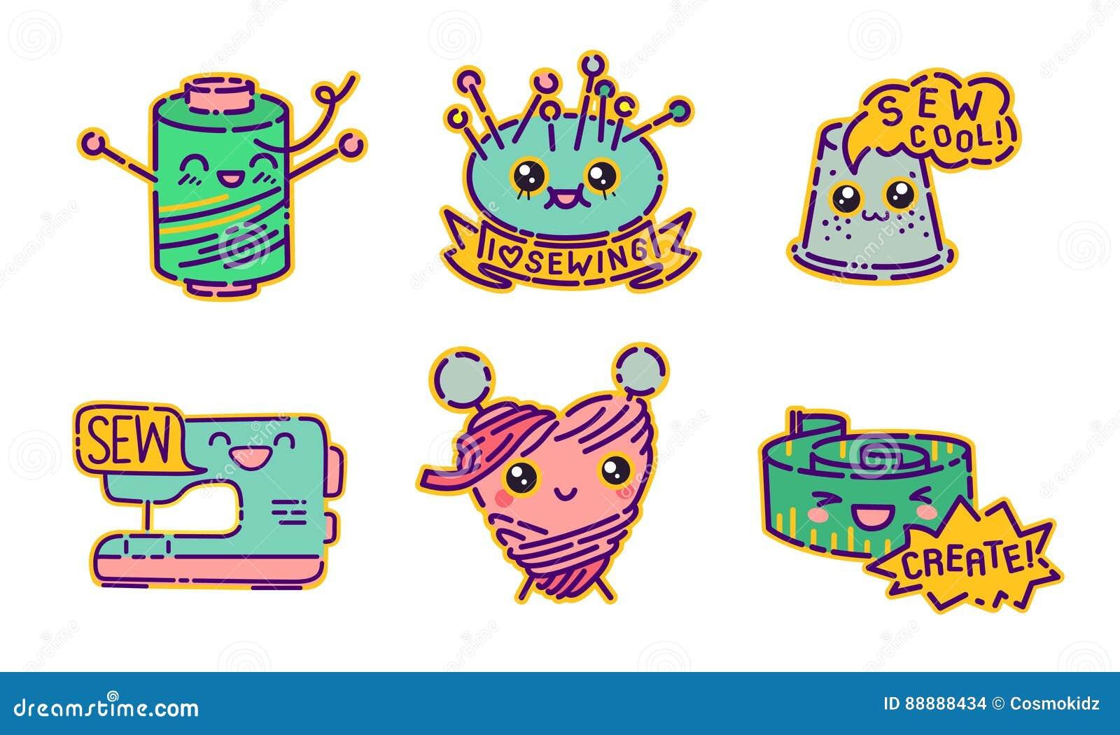 Ensemble de couture d insigne, signes plats de style de conception de kawaii mignon, icônes de couturière, illustrations de vecte
