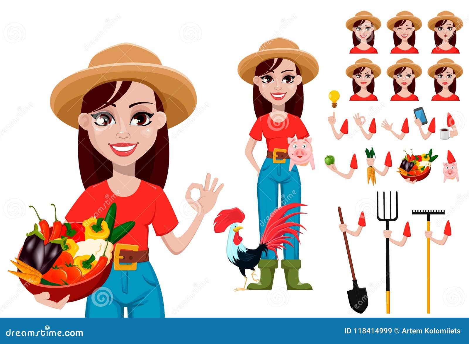 Ensemble de création de personnage de dessin animé d agricultrice