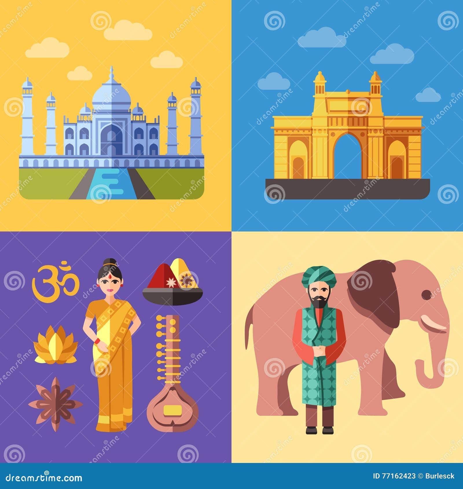 Ensemble de déplacement plat de vecteur de concepts d Inde