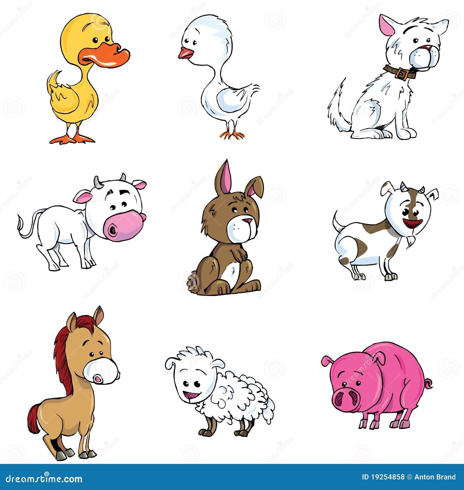 Ensemble de dessin anim d 39 animaux de ferme illustration - Dessin manga animaux ...