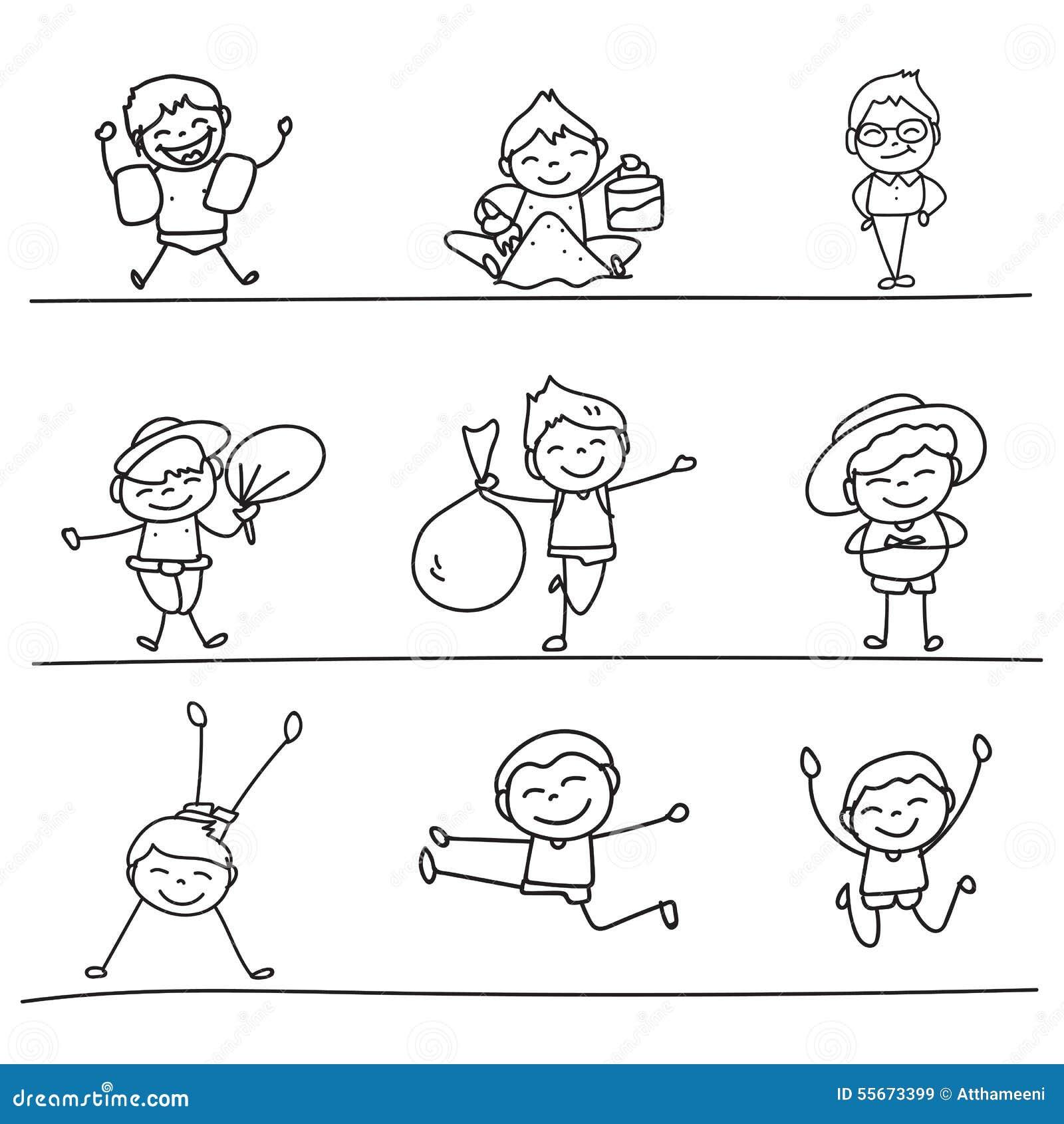 Ensemble de dessin de main d 39 enfants heureux illustration - Dessin main enfant ...