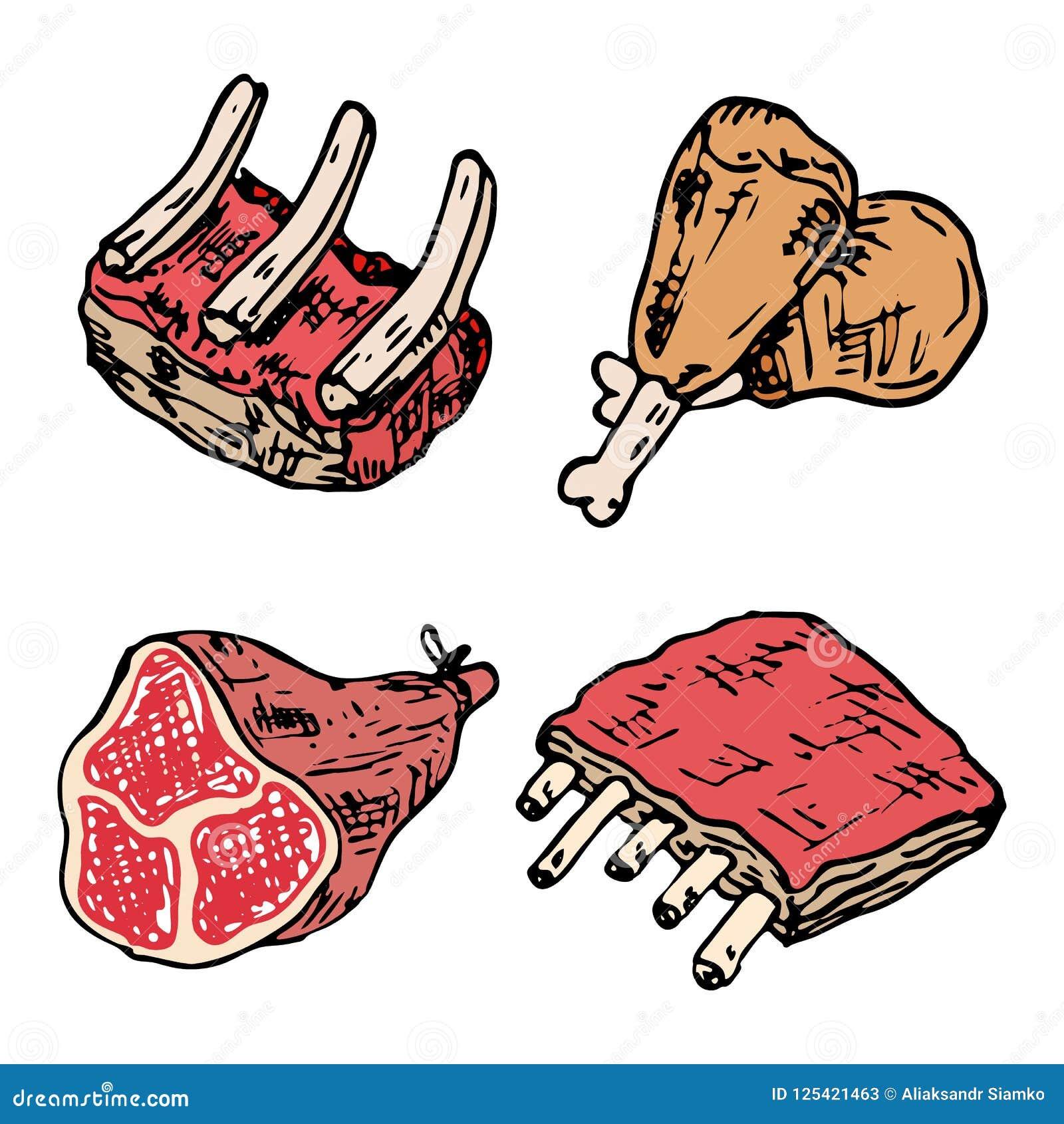Ensemble De Dessin De Vecteur De Viande Crue Bifteck De