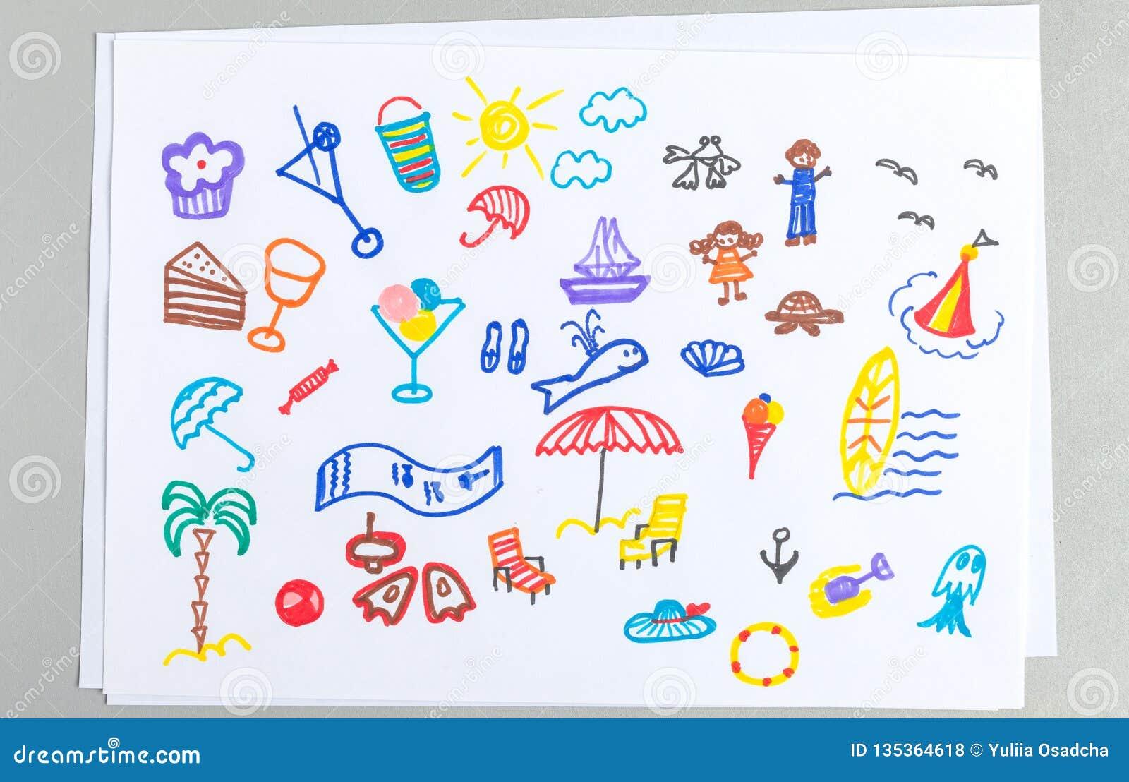 Ensemble de dessins d enfant de différents accessoires et éléments de  vacances de plage d été