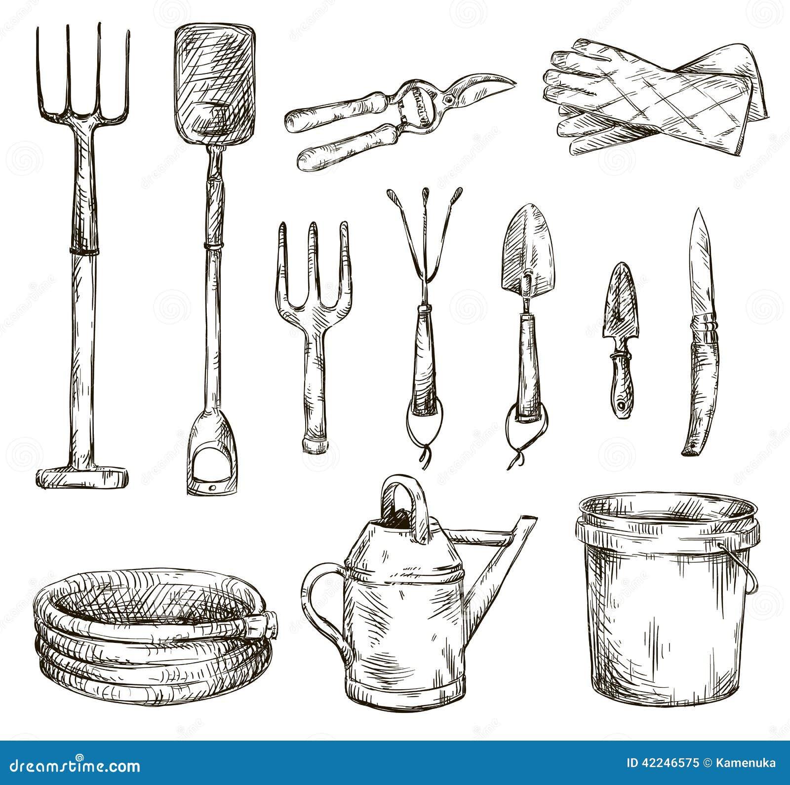 Ensemble de dessins d 39 outils de jardinage illustrations for Dessin outils jardinage