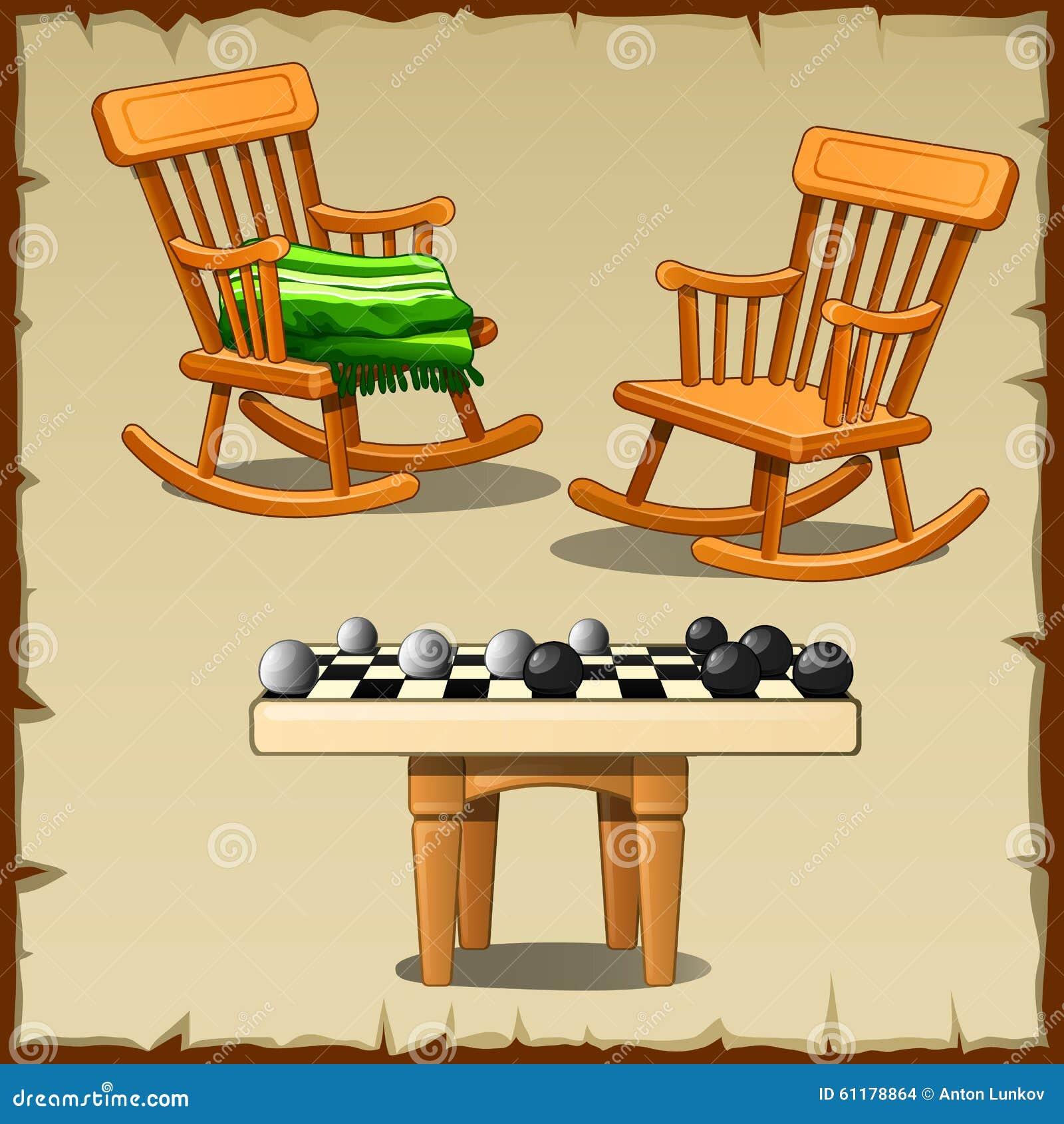 Ensemble de deux chaises de basculage avec des contrôleurs sur en bois