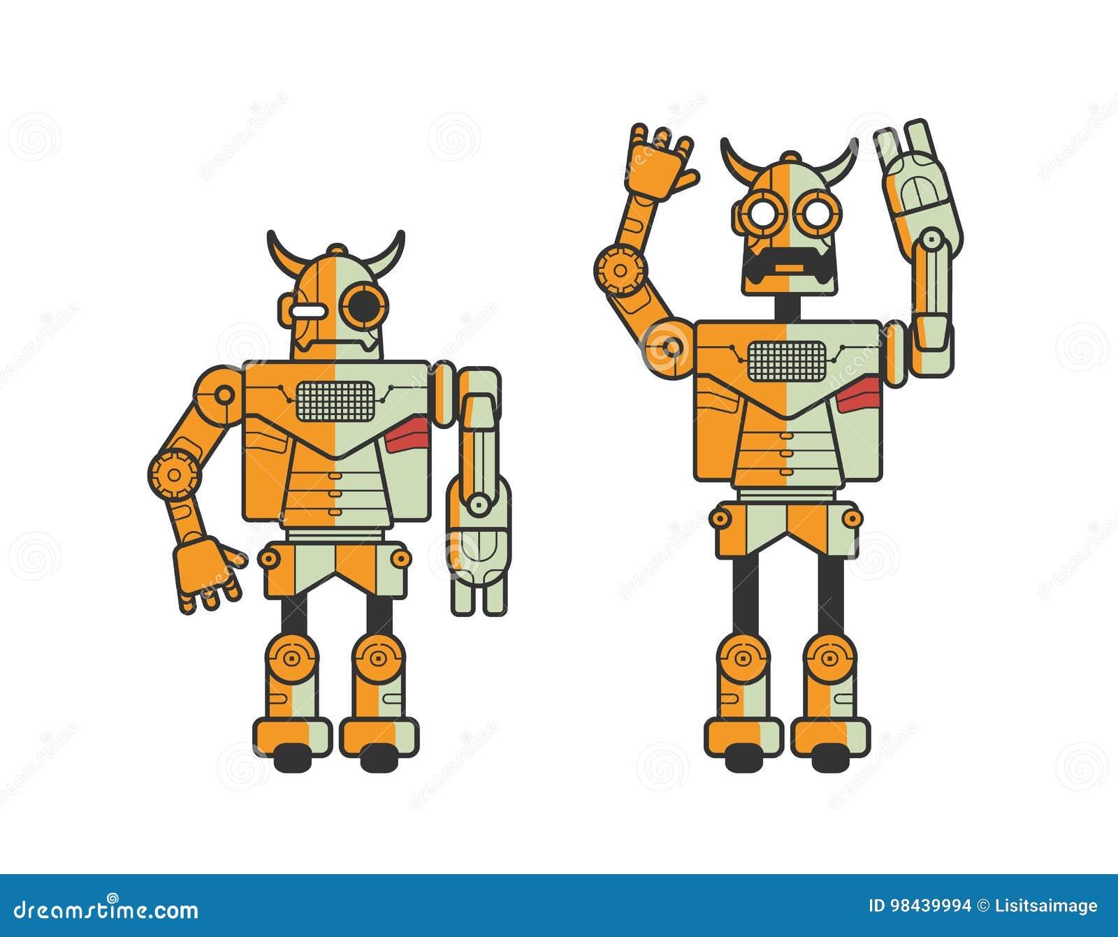 Ensemble de deux robots électroniques de jouet exprimant différentes émotions d isolement sur le fond blanc Android se tenant dan