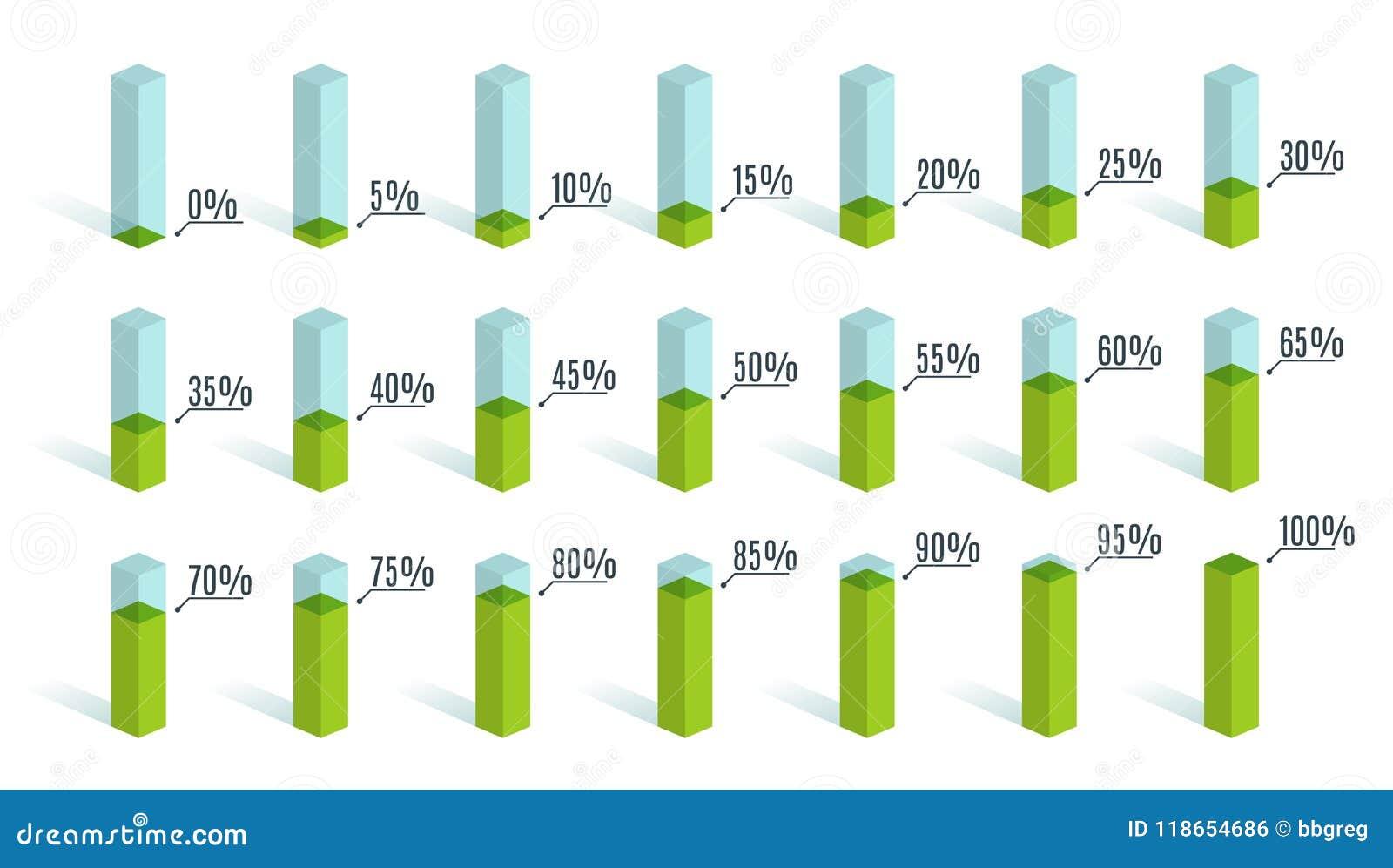 Ensemble de diagrammes verts de pourcentage pour l infographics, 0 5 10 15 20 25 30 35 40 45 50 55 60 65 70 75 80 85 90 95 100 po