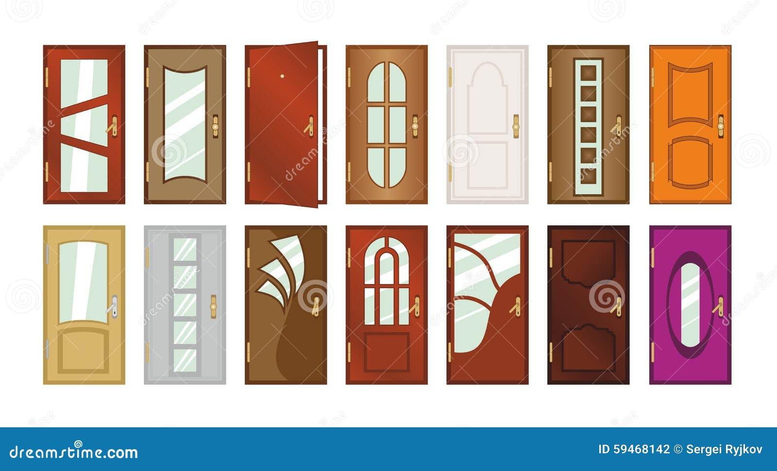 ensemble de diff rents types de portes illustration stock illustration du isolement maison. Black Bedroom Furniture Sets. Home Design Ideas