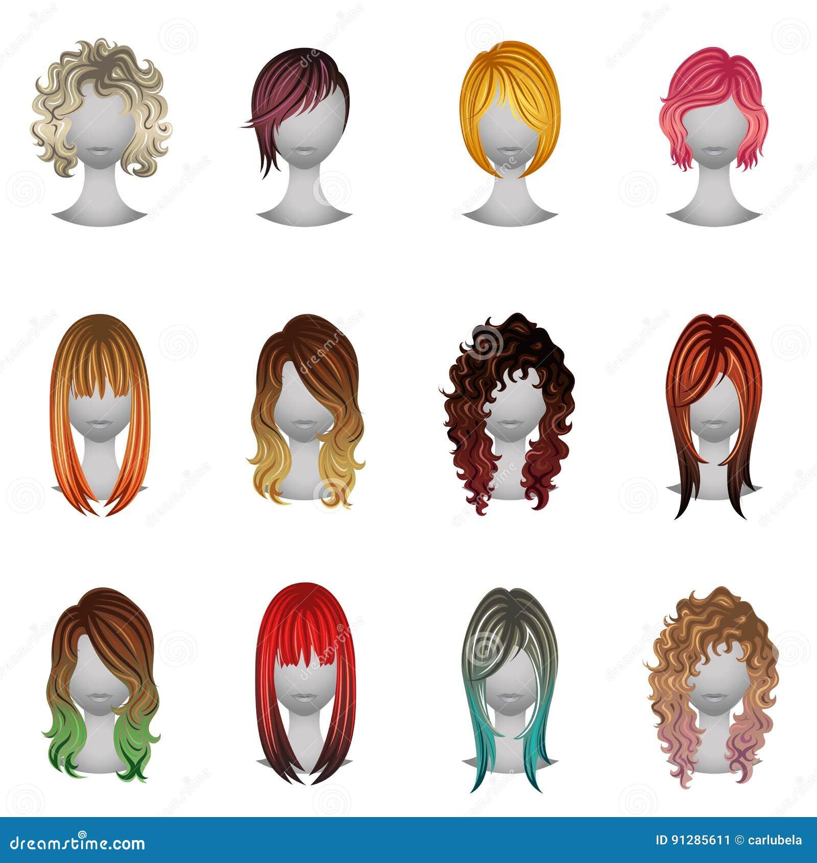 ensemble de diff rents types et couleurs de cheveux illustration de vecteur image 91285611. Black Bedroom Furniture Sets. Home Design Ideas