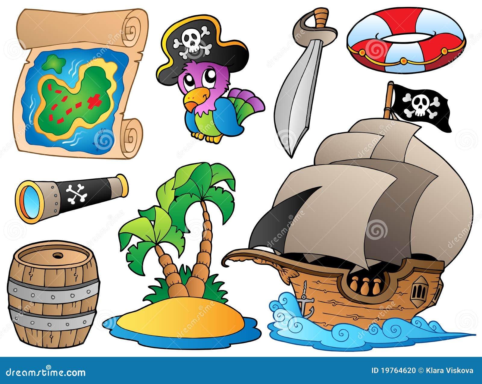 Ensemble de divers objets de pirate