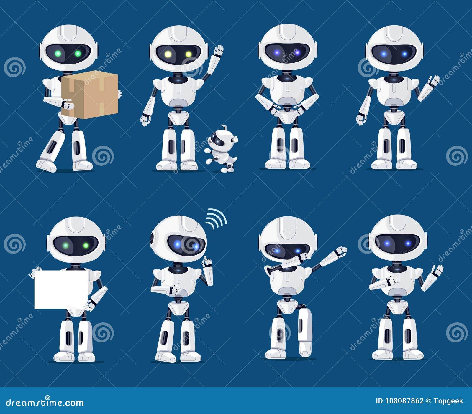 Ensemble de diverse illustration de vecteur d activité de robots