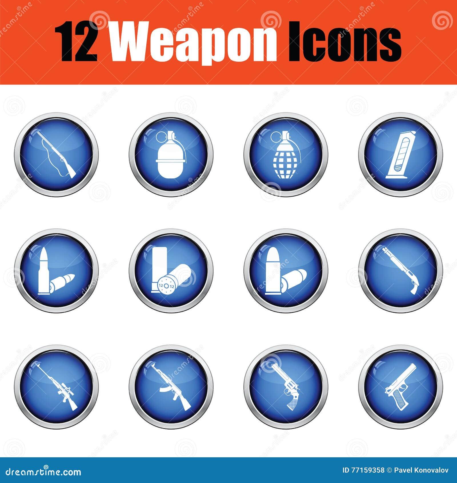 Ensemble de douze icônes d arme