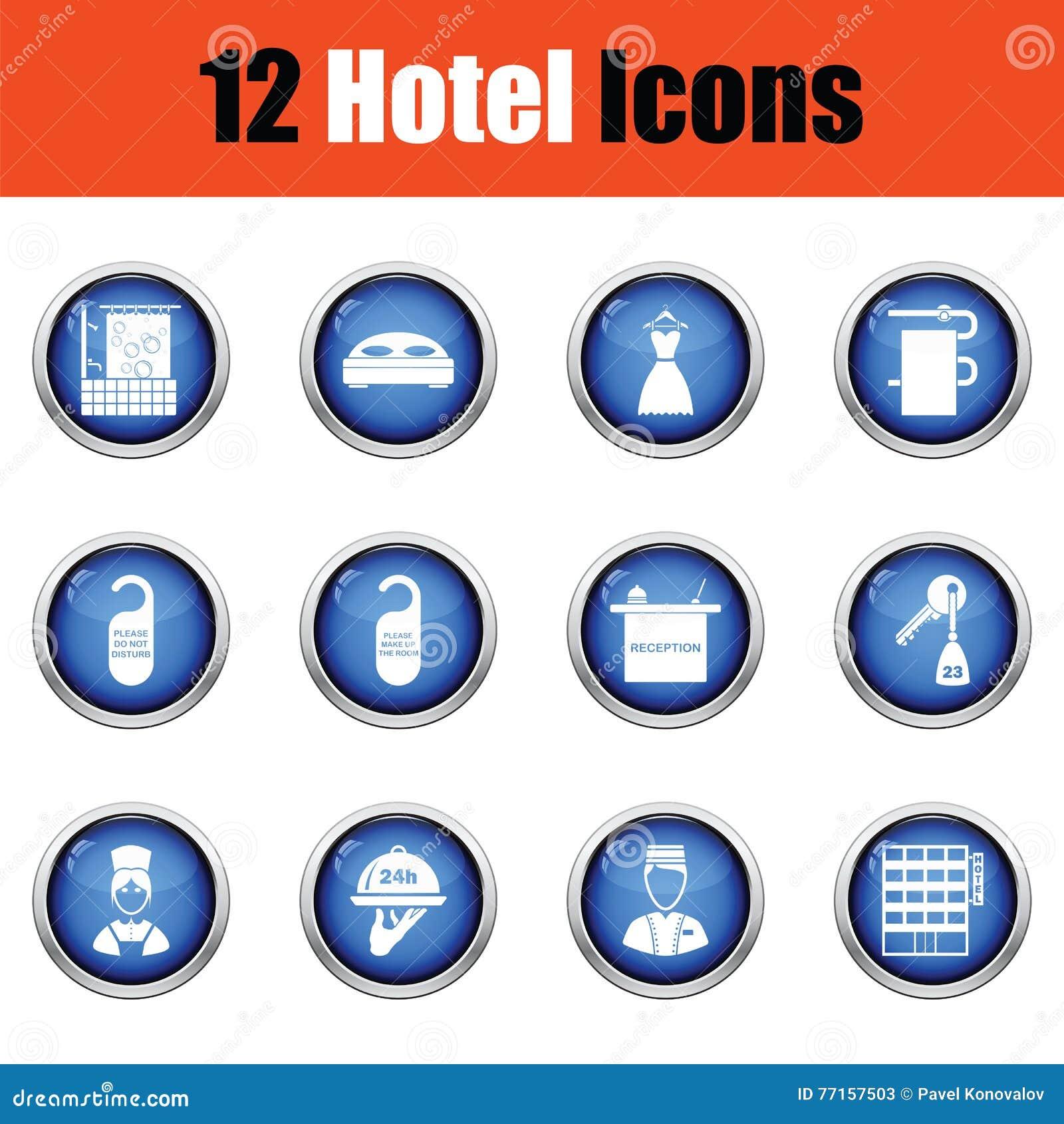 Ensemble de douze icônes d hôtel