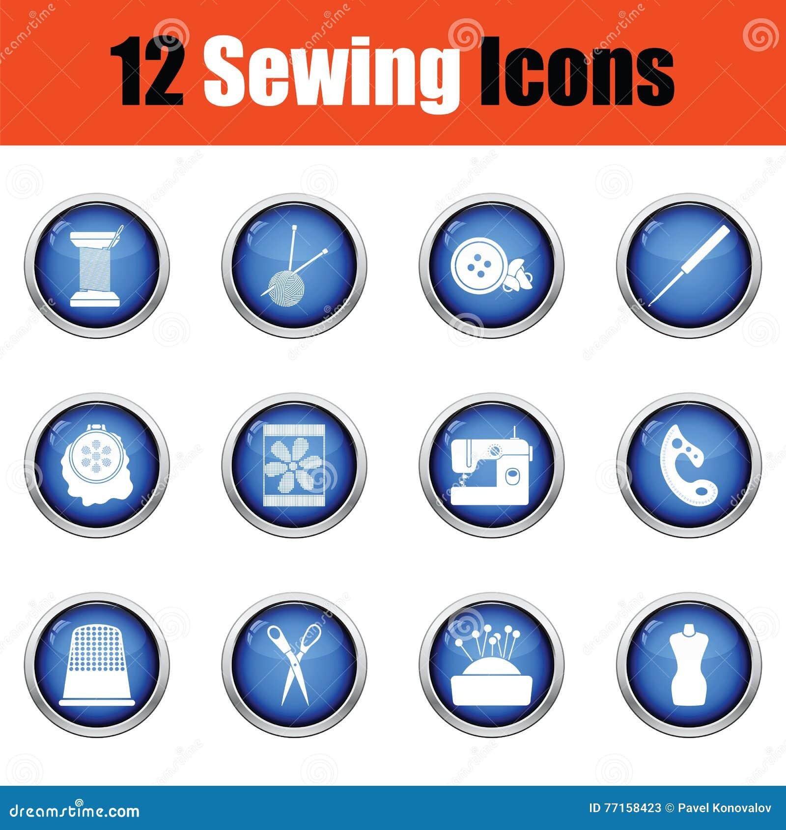 Ensemble de douze icônes de couture